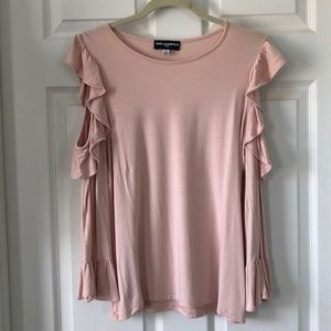 Karl Lagerfeld Cold Shoulder Ruffle Top